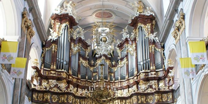 Bardo / Polen, Mariä Verkündigungskirche, 3 Manuale 50 Register, F. J. Eberhard 1758, Restaurierung 2013