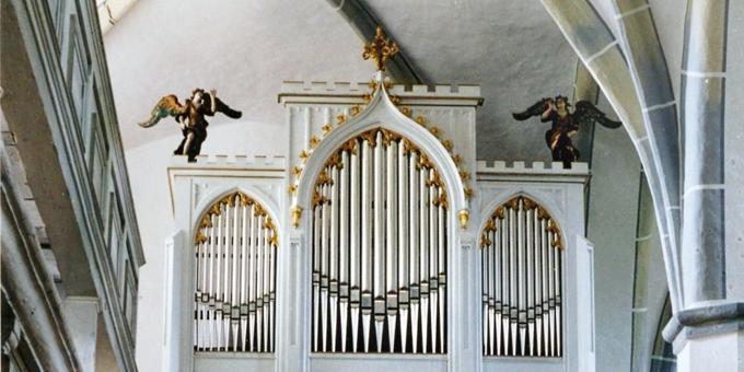 Reichenbach, Ev. St. Johanneskirche, 2 Manuale 12 Register, F. Ladegast 1866, Restaurierung 2000